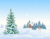 Winterlandschaftshintergrund und Weihnachtsbaum vektor abbildung