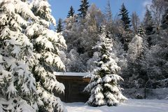 Winterlandscheune Lizenzfreies Stockbild