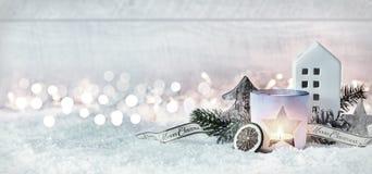 Winterliche festliche Panoramafahne der frohen Weihnachten Stockbild