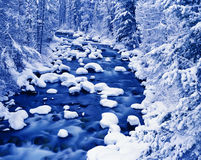 Winterliche Fluss-Landschaft Lizenzfreie Stockbilder