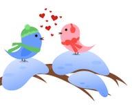 Winterliche Vögel in der Liebe Lizenzfreie Stockfotos