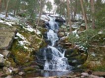 Winterlicher bewaldeter Wasserfall lizenzfreie stockbilder