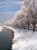 Winterlicher Fluss Stockfotografie