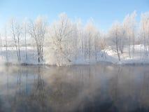 Winterlicher Fluss lizenzfreie stockfotos