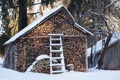 Winterlicher Woodpile Lizenzfreies Stockfoto