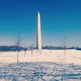 Winterliches Washington Monument Lizenzfreies Stockfoto