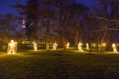 Winterlichter in palmgarden stock foto's