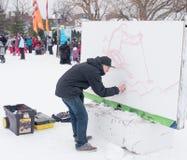 Winterlude em Gatineau, Quebeque, Canadá 2014 - artista dos grafittis Fotos de Stock