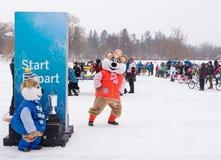 Winterlude em Ottawa, Ontário, Canadá 2014 - raças da cama no CI imagens de stock