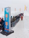 Winterlude in Gatineau, Quebec, Canada 2014 - Opstellingen voor Sneeuw S Stock Afbeelding