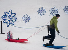 Winterlude in Gatineau, Quebec, Canada 2014 - Sliding Stock Photography