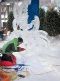 Winterlude in Ottawa, Ontario, Kanada 2014 - Eis Carver 01 Lizenzfreie Stockbilder