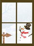 Winterly che osserva finestra Fotografie Stock Libere da Diritti