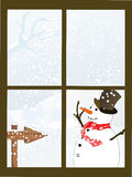 Winterly looking window. Vector illustration of winterly elements Royalty Free Stock Photos