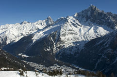 Winterly valley of Chamonix, France Royalty Free Stock Photography