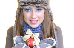 Wintermädchen. Lizenzfreies Stockfoto