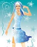Wintermädchen mit dem blauen Haar stock abbildung