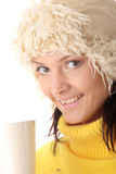 Wintermädchen mit heißem Cup Stockfoto