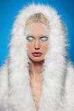 Wintermädchen in Pelz hhod Porträt der schönen jungen Frau mit silbernen Weihnachtsbällen Lizenzfreie Stockfotografie