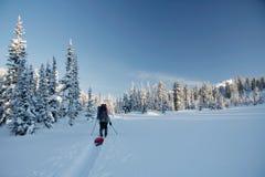Wintermärchenland und -Skifahrer auf Skispur Lizenzfreie Stockfotos