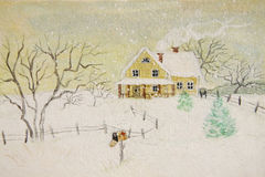 Wintermalerei des Hauses mit Briefkasten Stockfoto
