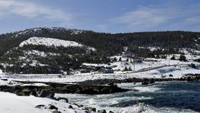 Wintermeerblick entlang der Küste von Neufundland Kanada, nahe Flatrock stockfoto