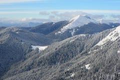 Wintermorgen in den Bergen Stockfoto