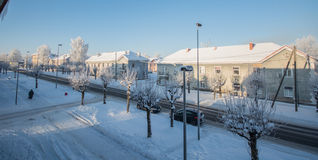 Wintermorgen, einfrierende Kälte Stockfotografie