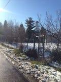 Wintermorgen in Serbien, Popovica Stockfotografie