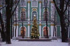 Wintermorgen und Weihnachtsbaum Stockbild