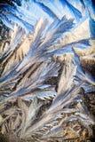 Wintermuster auf dem Fenster Stockbild