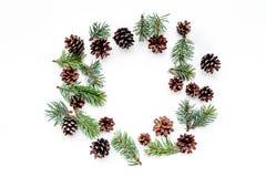 Wintermuster mit Fichtenzweig und pinecones auf weißem copyspace Draufsicht des Hintergrundes Lizenzfreie Stockbilder