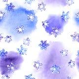 Wintermuster mit Schnee wiederholend, blättern Sie auf Fleckaquarell ab Vektor Abbildung