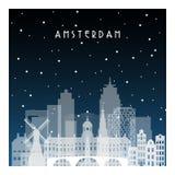 Winternacht in Amsterdam stock abbildung