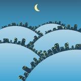 Winternacht in der großen fantastischen Stadt Lizenzfreie Stockfotos