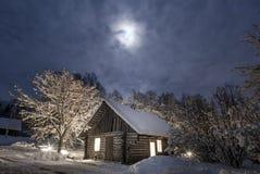 Winternacht an der Landschaft Stockfotografie