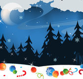 Winternachtlandschaft Stockfotografie