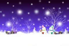 Winternachtlandschaft der frohen Weihnachten mit netten Schneemannpaaren - grafische Malereibeschaffenheit Stockfotos