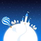 Winternachtlandschaft mit einem Schloss- und Luftballon Stockbild