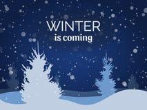 Winternachtlandschaft mit Schnee und Kiefern, Vektorillustration Stockfotos