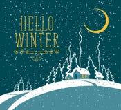 Winternachtlandschaft mit schneebedecktem Dorf vektor abbildung
