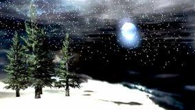 Winternachtlebhafte Landschaft mit Glanzmond und windigem beweglichem Baum vektor abbildung