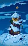 Winternachtmärchen-Hintergrund Stockfotografie