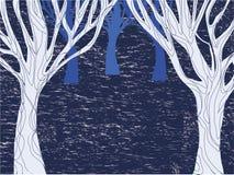 Winternachtwaldmuster mit Bäumen vektor abbildung