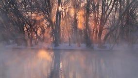 Winternebel über dem Fluss bei Sonnenaufgang stock video footage