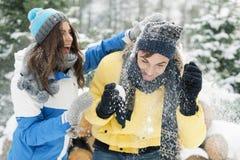 Winterpaare, die Spaß haben, draußen zu spielen im Schnee Lizenzfreie Stockfotos
