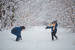 Winterpaare, die Spaß haben, draußen zu spielen im Schnee Junge frohe glückliche multi-racial Paare Stockfotografie