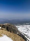 Winterpanorama der Krkonose Berge stockbilder