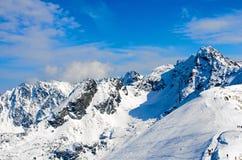 Winterpanorama von Bergen Stockbild
