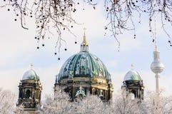 Winterpanorama von Berlin Dom Lizenzfreies Stockfoto